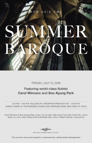 NEW ASIA CMS SUMMER BAROQUE - Featuring world-class flutists Carol Wincenc and Soo-Kyung Park